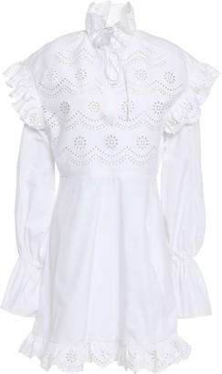 Philosophy di Lorenzo Serafini Ruffled Broderie Anglaise Cotton Mini Dress