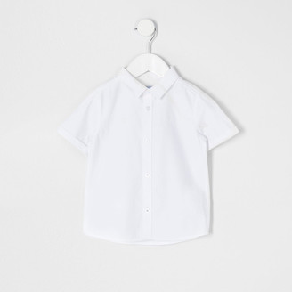 River Island Mini boys white short sleeve twill shirt