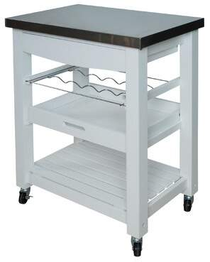 Winston Porter Denzil Compact Kitchen Cart with Stainless Steel Top Winston Porter