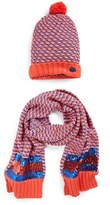 Little Marc Jacobs Girl's Knit Hat & Scarf Set - Red