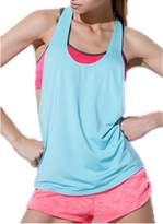 Amao Womens Basic Loose Low Neck Racerback Open Sides Sleeveless Sport Tank TOP . (L, )