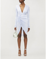 Alexandre Vauthier V-neck gathered stretch-woven dress
