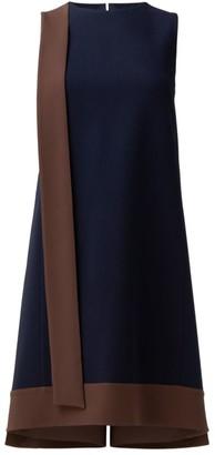 Akris Sleeveless Bicolor Crepe Sash Dress