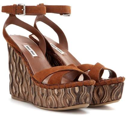 Miu Miu Suede platform wedge sandals