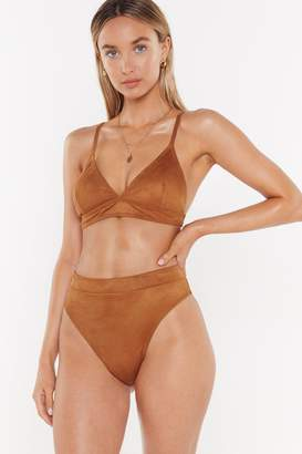 Nasty Gal Womens No Suede High-Leg Bikini Bottoms - Brown - 4, Brown