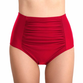 Liangzhu Women's Bikini Tankini Bottom High Waist Ruched Solid Swim Shorts Swimsuit Brief Tummy Control Big Red L