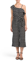Juniors One Shoulder Printed Gaucho Jumpsuit