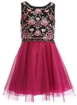 Teeze Me Girls Big Girls 7-16 Embroidered/Tulle Popover Dress