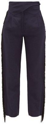 BLAZÉ MILANO Chips Beaded-fringe Slubbed Trousers - Navy