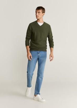 MANGO Textured cotton cashmere-blend sweater