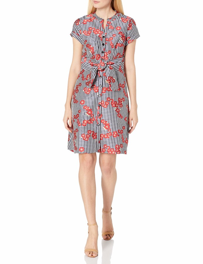 Adrianna Papell Women's Gingham and Floral Flared Shirt Dress