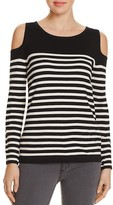 Avec Cold Shoulder Stripe Sweater