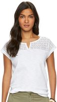 Chaps Women's Lace Yoke Splitneck Tee