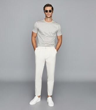 Reiss Bedford - Mercerised Cotton Crew Neck T-shirt in Grey Melange