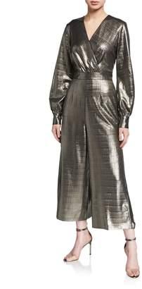 Ted Baker Metallic Long-Sleeve Wide-Leg Wrap Jumpsuit