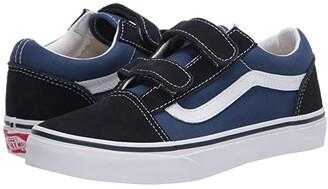Vans Kids Old Skool V (Big Kid) (Navy/True White) Kids Shoes
