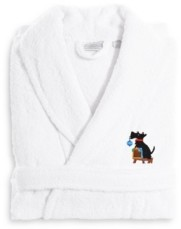 Linum Home Textiles Embroidered Luxury and Terry Bathrobe - Christmas Dog Bedding
