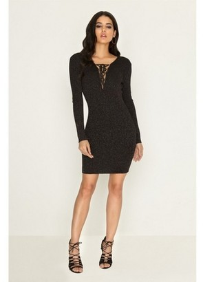 Dorothy Perkins Womens Girls On Film Black Lace Jumper Bodycon Dress, Black