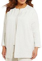 Eileen Fisher Plus Jacquard Knit Bracelet Sleeve Long Jacket