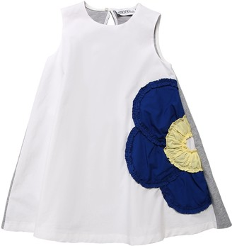 Simonetta Cotton Poplin & Sweat Dress W/ Patch