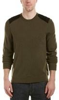Rag & Bone Zeeland Suede-trim Wool Crewneck Sweater.