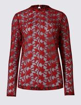 Marks and Spencer Cotton Blend Embroidered Mesh Blouse