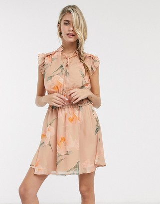 Skylar Rose mini dress with shirred waist and tie neck in vintage floral
