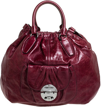 Miu Miu Burgundy Leather Front Pocket Hobo