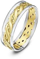 Theia Unisex Highly Polished Court Shape Celtic 6 mm 9 ct White and Yellow Gold Wedding Ring - Size L