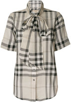 Burberry tie neck check blouse - women - Cotton - XXS