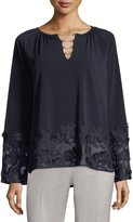T Tahari Laurie Neck-Chain Embellished Knit Top