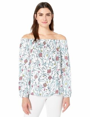 Tribal Women's Printed On and Off Shoulder Blouse