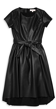 BCBG Girls Girls' Faux Leather High-Low Fit & Flare Dress - Big Kid
