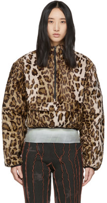 Puffa Ashley Williams Brown Faux-Fur Leopard Jacket