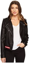 Blank NYC Vegan Leather Elastic Band Moto Jacket in Frisky Business