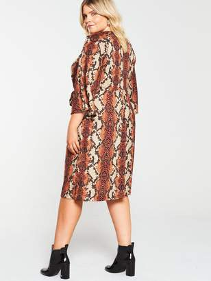 AX Paris Curve Twist Front Snake Print Dress - Rust