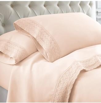 Modern Threads Queen Crochet Lace Sheet Set - Blush