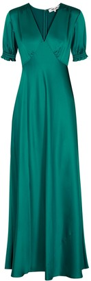 Diane von Furstenberg Avianna teal satin maxi dress