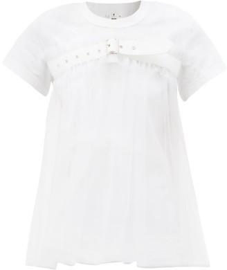 Noir Kei Ninomiya Strapped Tulle-panel Cotton-jersey T-shirt - White