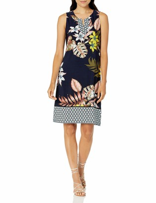Tribal Women's SLVLESS Dress W/Border Print