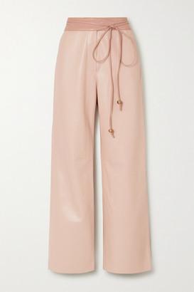 Nanushka Chimo Belted Vegan Leather Wide-leg Pants - Blush