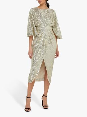 Monsoon Sophia Sequin Midi Dress, Gold