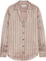 Equipment Adalyn Metallic Striped Silk-satin Shirt - Gold