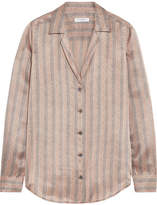 Equipment Adalyn Metallic Striped Silk-satin Shirt