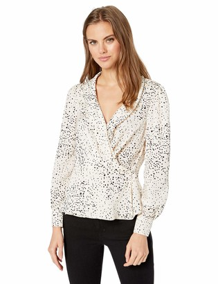 Cupcakes And Cashmere Women's Diego Printed Reverse Crepon wrap Blouse