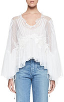 Chloé Embroidered Tulle Bell-Sleeve Blouse, Milk