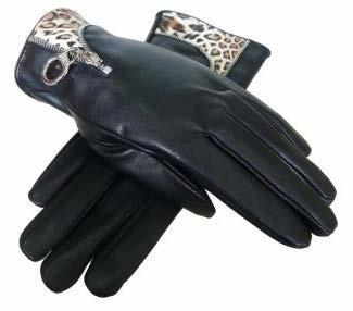 Jc Unique New Women's Boxed Black and Leopard Print Faux Leather Glove
