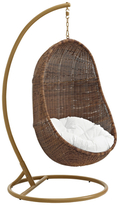 Bean Outdoor Patio Wood Swing in Coffee White