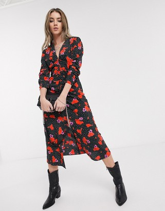 Topshop midi dress with v-neck in spot and floral print
