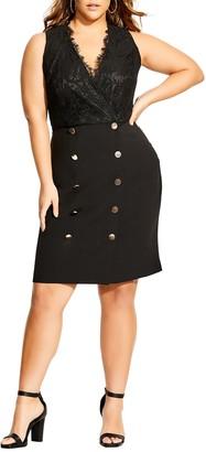 City Chic Lace Tux Sleeveless Dress